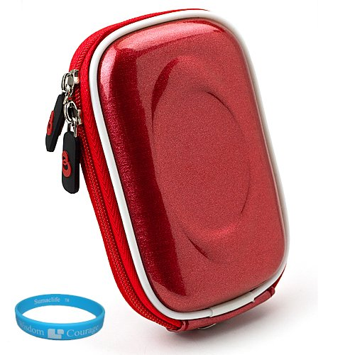 Red Candy Slim Edition Compact Digital Camera Carrying Case with Dual Zippered Opening and Removable Carbineer for Sony Cyber-shot DSC-W550 Digital Camera + SumacLife TM Wisdom Courage Wristband