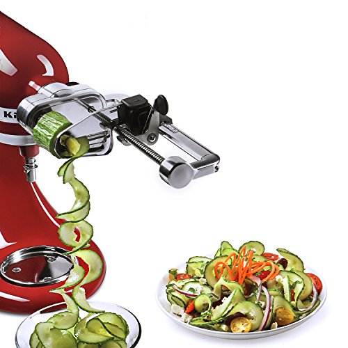 Multifunctional Fruit Processor & Spiral Slicer Attachment with Peel, Core and Slice