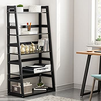 Tribesigns 5-Tier Bookshelf, Free Standing Ladder Shelf with Strong Metal Frame, Ample Space for Storage (Black)
