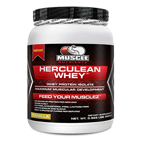 Herculean Whey Protein Isolate Powder - Lactose-Free, Fat-Free, Cholesterol-Free, Low Sodium, Low Sugar, Low Carb. Fastest Digesting Protein Form. Are You Getting Enough Protein In Your Diet? 26 Grams Of Protein Per Serving. Order Today. (Vanilla, 420 Gra