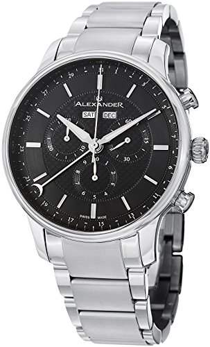 - 518fQwpe5cL - Alexander Statesman Chieftain Men's Multi-function Chronograph Black Dial Stainless Steel Swiss Made Watch A101B-02