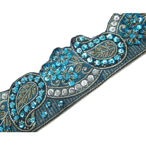 1 Yd Turquoise Paisley Style Beaded Sequin Trim Ribbon