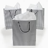 12 Paper Medium Black and White Wedding Gift Bags - Gay Wedding Supplies