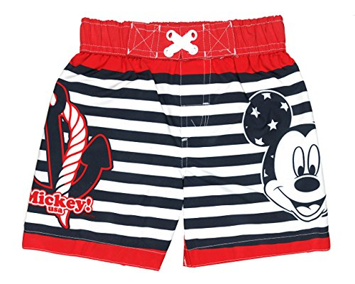 Disney Toddler Mickey Mouse Red/Navy Striped Swim Trunk Sizes 2T-5T