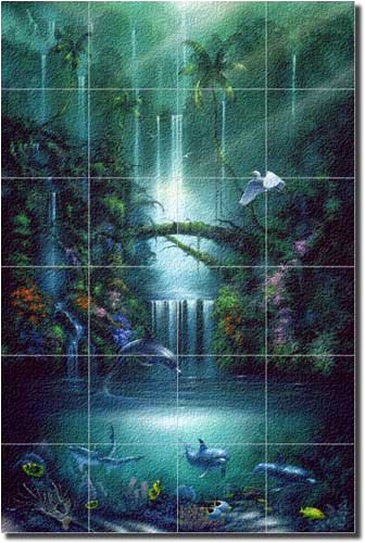 "Enchanted Pool by David Miller - Tropical Waterfall Glass Tile Wall Floor Mural 36"" x 24"" Kitchen Shower Backsplash"