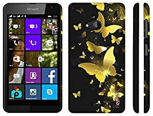 Heartly ButterFly Printed Designer Thin Hard Bumper Back Case Cover For Microsoft Lumia 535 - Golden Yellow