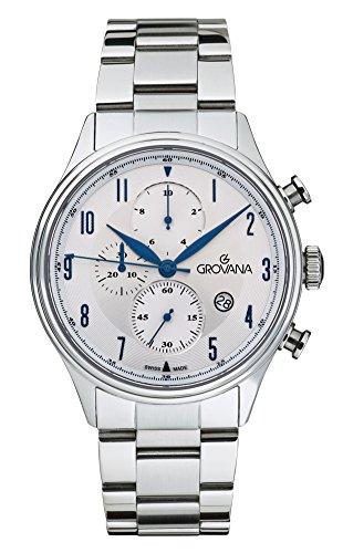 Para hombre reloj infantil de cuarzo con Grovana plateado esfera cronográfica y plateado correa de acero inoxidable de 1192,9132