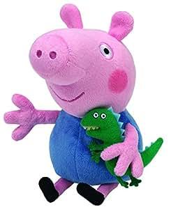 Ty 7146130 - Peppa Baby - George, Maiale di Peluche con Piccolo Dinosauro, 15 Cm