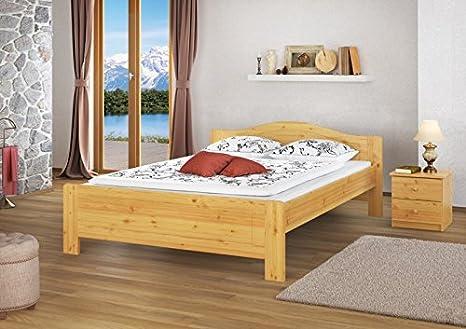 Doppelbett Kiefer natur Ehebett 140x200 Futonbett Massivholzbett Rollrost Matratze 60.37-14 M