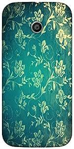 Snoogg Grunge Flower Teal Designer Protective Back Case Cover For Motorola E ...