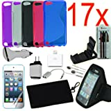 Apple Ipod Accessories – 17pcs iPod Touch 5 5th Generation Accessories Bundle, TPU Gel Case, Armband, Power Adapter, Car Charger,Earphone Headset, Screen Protector, Sleeve Bag, Desktop Stand, Stylus and More