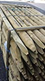 12 Pack of Half Rounded Fence Stakes 1.8m x100mm. Wooden Fencing Posts, 6ft Tanalised wood