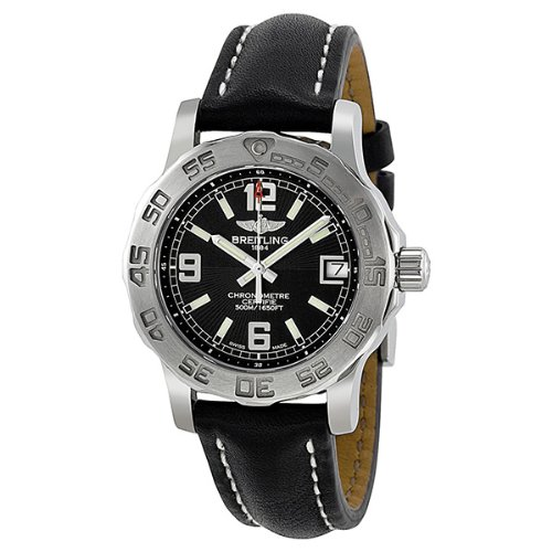 Breitling Colt 33 Black Dial Stainless Steel Black Leather Ladies Watch A7738711-BB51