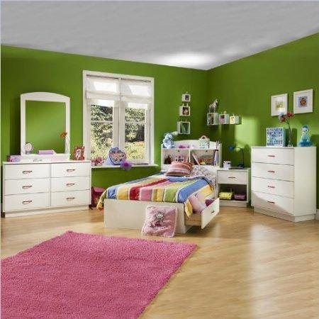 Cheap South Shore Logik Kids Pure White Twin Wood Mates Storage Bed 4 Piece Bedroom Set (3360213-4PKG)