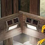 Stainless 2 LED Solar Wedge Deck Dock Light Staircase Step and Wall Light Great Accent Lighting (2 Pack)