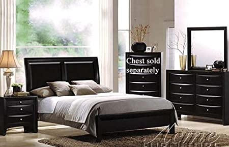 4pc Queen Size Bedroom Set Black Finish
