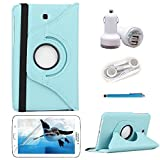 iCrown(TM) 5 in 1 Accessories Bundle 360 Degree Rotating PU Leather Case for Samsung Galaxy Tab 3 7.0 inch Tablet (SM-T210R, GT-P3200 / P3217),lightweight and durable(case+Earphones + Screen Protector+Stylus Pen+USB Car Charger) (z.Light blue 5in1)