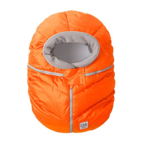 7AM Enfant Car Seat Cocoon: Infant Car Seat Cover Micro-Fleece Lined with an Elasticized Base, Neon Orange