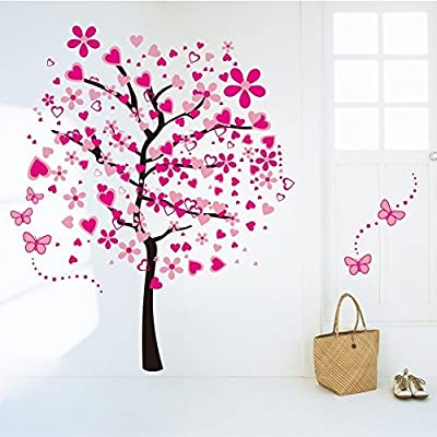 Boodecal Nature Series Giant Pink Heart Tree Butterfly Cherry Blossom Removable Wall Art Paintings Decal for Girls Bedroom Nursery Bedroom Sofas 65*68 inches