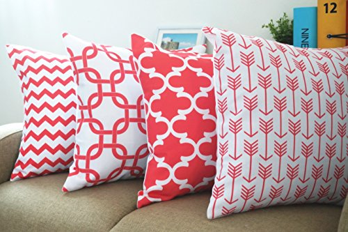 """Howarmer® Canvas Cotton Decorative Coral Color Throw Pillows Geometric Pattern Cushion Cover for Couch Set of 4 --Coral Red Arrow Pattern,coral Quatrefoil,red Trellis,red Chevron Accent 18""""x18"""""""