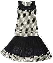 Gowri Marketing Girls' Dress (AM0001_3, Black and Grey, 3-4 Years)