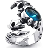 KONOV メンズ リング サソリ クリスタル ステンレス カラー:青(銀)[ギフトバッグを提供]