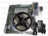 DODOLIGHTNESS 16.4 Ft Waterproof Color Changing SMD 5050 300LEDs Flexible RGB LED Lighting Strip + 44 Key Remote Controller + 12V 5A Power Supply for Wedding Christmas Party Holiday