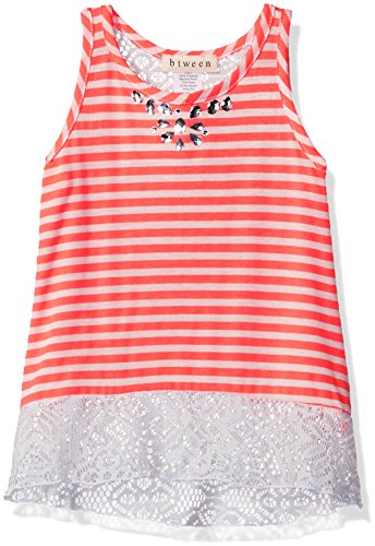 BTween Little Girls Little Striped Tank with Crochet Back and Jeweled Neck, Neon Coral/Ivory, 4