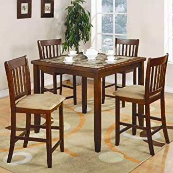 5 Piece Marble Like Table Top Counter Height Set