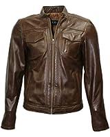 Mud BOIS LLD Hommes Brown biker en cuir souple véritable style de veste