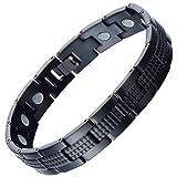 Modern Sleek Black Stainless Steel Bracelet for Men with 3000g Magnets