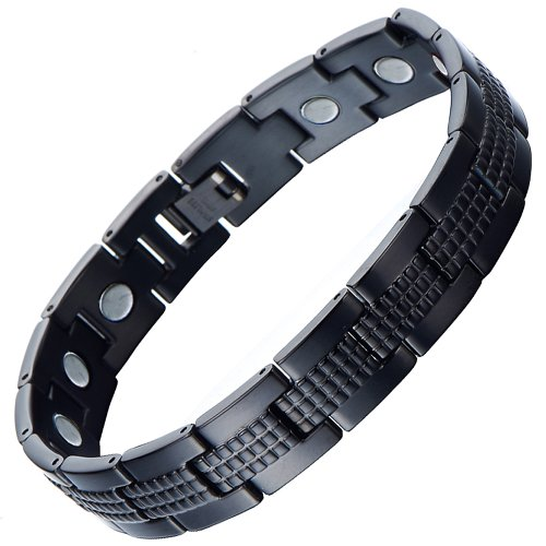 Modern Sleek Black Stainless Steel Magnetic Bracelet for Men with Magnets and Free Link Removal Tool