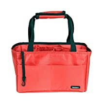 Damero Insert Organizer (Sewn to the Bottom) for Women's Handbag / Purse / Diaper Bag / Backpack with Handles (Red)