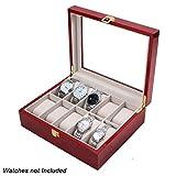#1: Wooden 10 Slots Wrist Watch Storage Box Display Case Organizer with Cherry Finish and Glass Window ( 26cm X 12cm X9cm) by Kurtzy