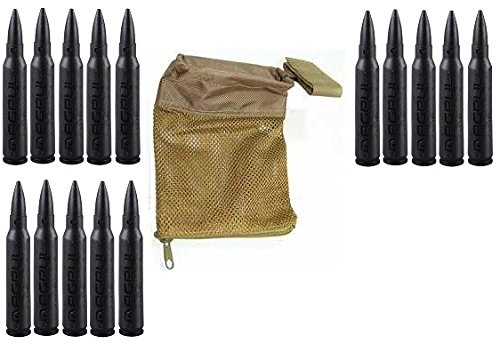 Magpul 215 Black 5.56 Pack Of 15 Dummy Ammo + Ultimate Arms Gear Tactical Fde Flat Dark Earth Tan Deluxe Mesh Ar15 Ar-15 .223 5.56 Rifle Brass Shell Bullet Catcher Bag
