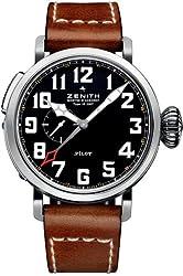 Zenith Pilot Automatic Black Dial Leather Strap Mens Watch 03.2430.693/21.C723