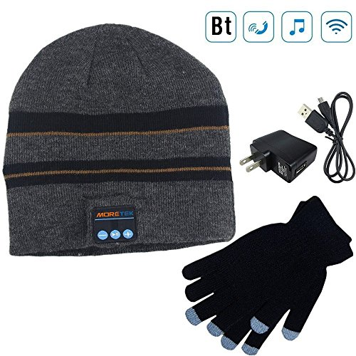 Moretek Wireless Bluetooth Beanie Hat Cap Hat with Musicphone Speakerphone Stereo Headphone Headset Earphone Speaker Mic for Fitness Outdoor Sports Walking Christmas Gifts (Black)