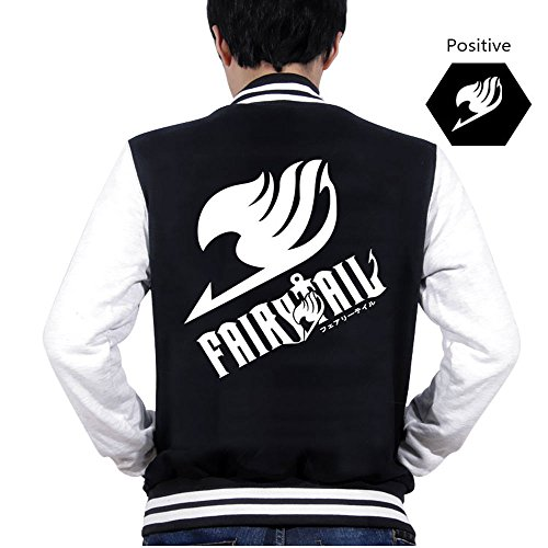 F&C Fairy Tail Anime Manga High School Baseball jackets Cosplay Costume (L, Black)