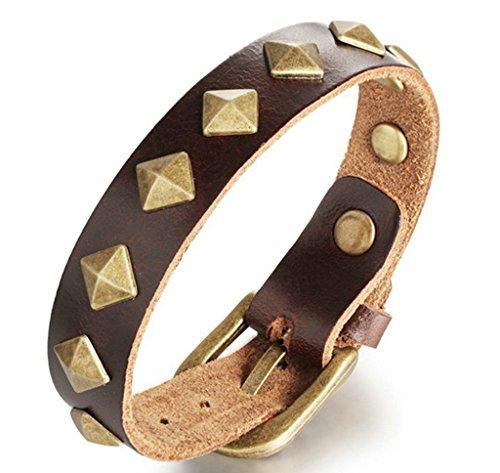 AnazoZ-Homme-Bracelet-Charm-en-Cuir-Mtal-Design-Manchette-Poignet-Gothique-Punk-Style-Motard-Biker-Bracelet-entrelac-Marron-826-Pouce210MM