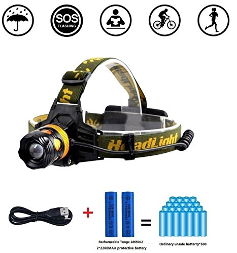 TOOGE-T6-Waterproof-LED-Head-Torch-Zoomable-Headlamp-Flashlight-with-3-Modes-Adjust-Front-Lamp-for-Hunting-Fishing-Riding-Hiking-Camping-and-Walking-the-DogInclud-22200mAh-18650-Rechargeabel-Battery-S