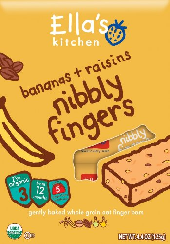 Ella's Kitchen Bananas + Raisins Nibbly Fingers Whole Grain Oat Finger Bars, Stage 3, 4.4 oz (Baby Food Level 3 compare prices)