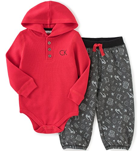 Calvin Klein Baby Boys' Hooded Bodysuit with Printed Pants Set, Red, 0-3 Months