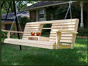 5 Feet Ft FLIP CUP HOLDER CONSOLE Cypress Lumber ROLL BACK PORCH SWING made from Rot-resistant Cypress Eternal Wood Made in the USA - Green Furniture - GO GREEN by Ecommersify Inc