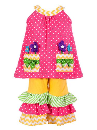 Peaches N Cream Baby-Girls Infant Pink Yellow Flower Pot Ruffle Capri Outfit, 24 Months