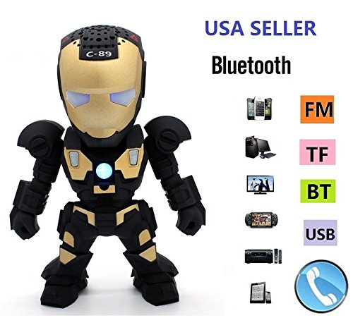 New Iron Man Wireless Bluetooth Speaker C-89 Mini Portable Children Style LED Light Speakers Stereo Music Player Support FM TF For Smartphones Tablets PC All Blutooth Devices(Black) (Iron Man Speaker compare prices)