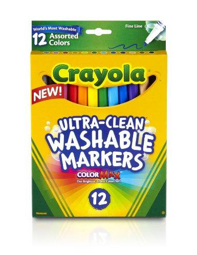 Crayola 587813 Marqueurs lavables, Fine Point, couleurs classiques, 12-Set