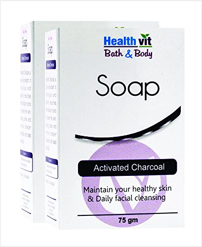 Amazon: Healthvit Bath and Body Activated Charcoal Soap, 75g (Pack of 2) @ Rs.90/-