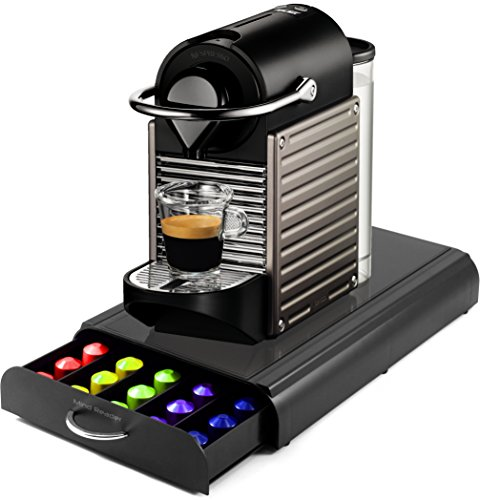 Nespresso C60 Pixie Electric Titan Automatic Espresso Machine with Bonus Mind Reader 50 Capsule Storage Drawer