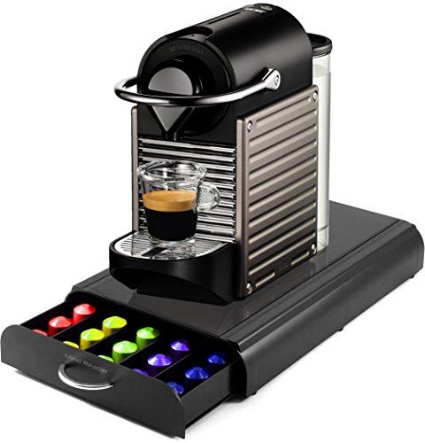 Nespresso C60 Pixie Electric Titan Automatic Espresso Machine with Bonus Mind Reader 50 Capsule Storage Drawer