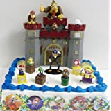 Super Deluxe Mario 19 Piece Birthday Cake Topper Set Featuring Warios Castle Diddy Kong Donkey Kong Boo Ghost Goomba Wario Waluigi Mario Luigi Koopa Troopa Mushroom Gold Coins and 5 Mario Cake Buttons